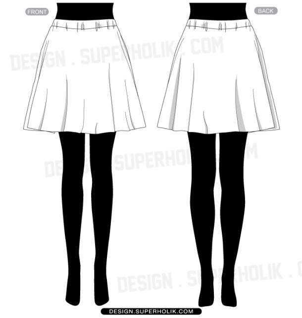 Skirt vector template